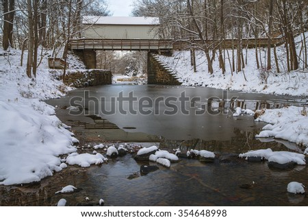 Footbridge Across the C&O Canal and Snow