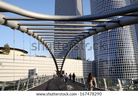 Footbridge across the street in Tel Aviv - stock photo