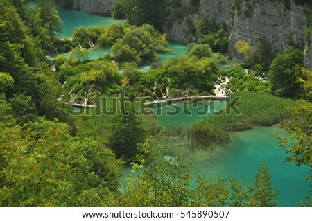 Footbridge and bridges in Plitvice Lakes National Park in Croatia. Holiday