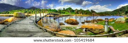 Footbridge at Tidal River, Wilsons promontory - stock photo