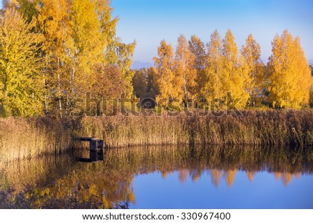 Footbridge on a water and a yellow trees in autumn - stock photo