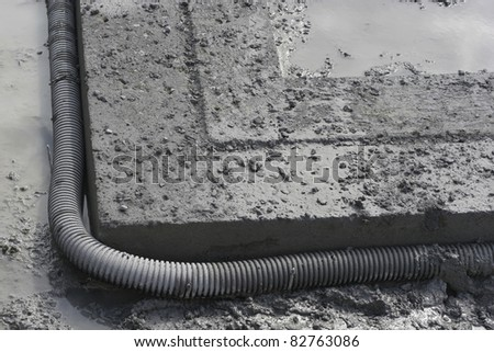 Footing and French drain closeup - stock photo