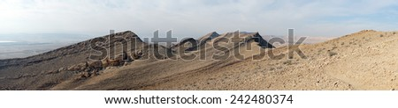 Footpath and mount Karbolet in Negev desert, Israel                                - stock photo