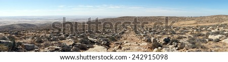 Footpath and mountain near Amasa, Israel                                - stock photo
