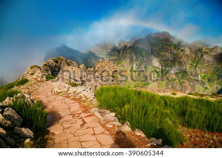 footpath at the Pico do Arieiro surrounding area, Madeira, Portugal - stock photo