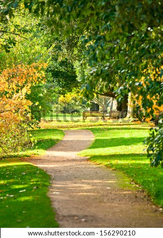 Footpath at the Royal Botanic Gardens in London - stock photo