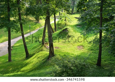 Footpath in a green summer park - stock photo