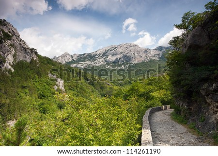 Footpath on mountain, Velebit, Croatia - stock photo