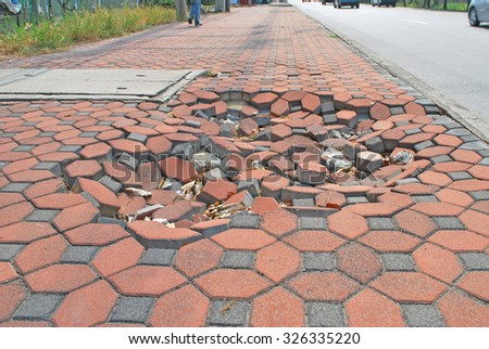 footpath pavement sidewalk damage. - stock photo