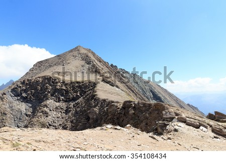 Footpath to Mountain summit Kreuzspitze in the Hohe Tauern Alps, Austria - stock photo