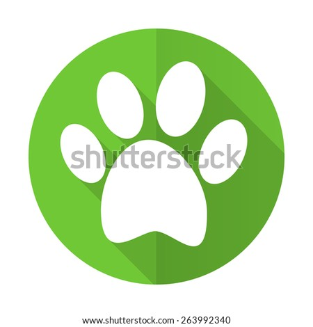 footprint green flat icon   - stock photo