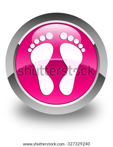 Footprint icon glossy pink round button - stock photo