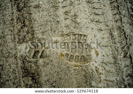 Footprint in the dirt. Brown road dirt with footprints. Background photo texture. Foot mark on the jungle trail. shoeprints in the mud.