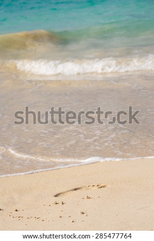 Footprint in the sand at the beach with turquoise blue waters - stock photo