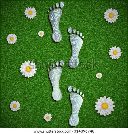 Footprint with a chip on the surface of the grass. Stock image.