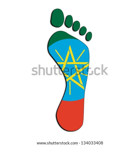 Footprint with flag inside - Ethiopia
