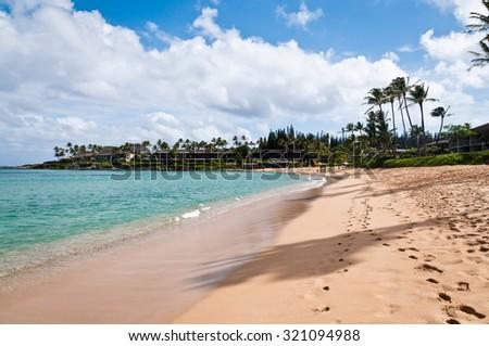 Footprints at the Napili beach in Maui - stock photo
