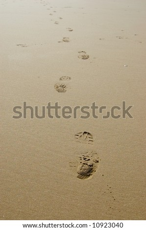 Footprints in sand - stock photo