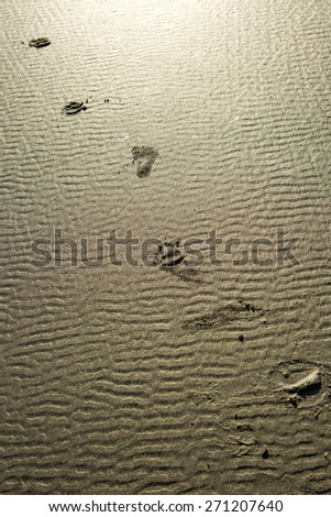 Footprints in the sand. - stock photo
