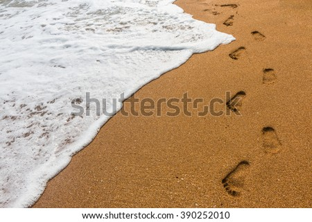 Footprints in the sand for background