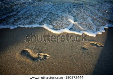 Footprints in the sand on the beach at sunset - stock photo