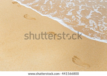 footprints in wet sand on the beach - stock photo