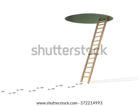 Footprints leading to ladder and hole in ceiling