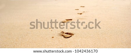 footprints of a child on the sand