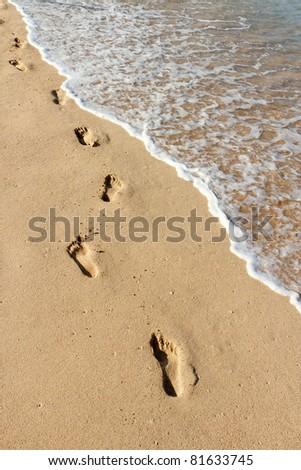 Footprints on a Caribbean beach - stock photo