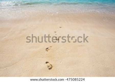 Footprints on a sand at the beach on sunny day