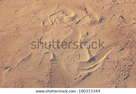 Footprints on beach sand textured background in vintage style - stock photo