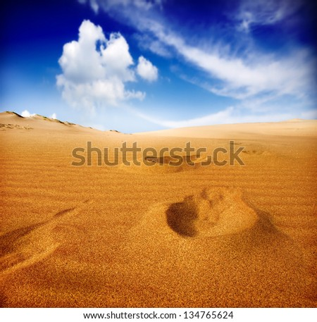 Footprints on sand dune, Sahara Desert - stock photo