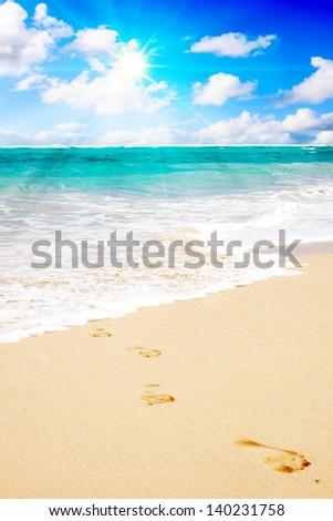 Footprints on sandy tropical beach - stock photo