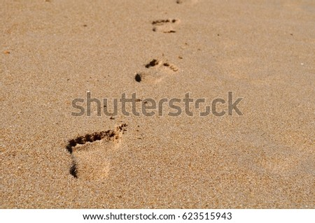 Footprints on the beach background
