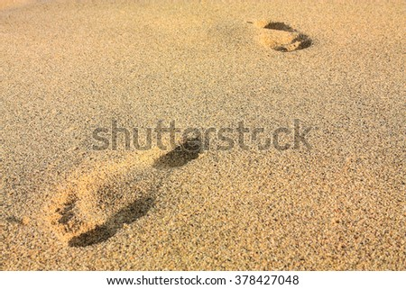 footprints on the beach. Tayrona National Park, located in the Caribbean Region in Colombia. 34 km from the city of Santa Marta is one of the most important natural parks of Colombia. - stock photo