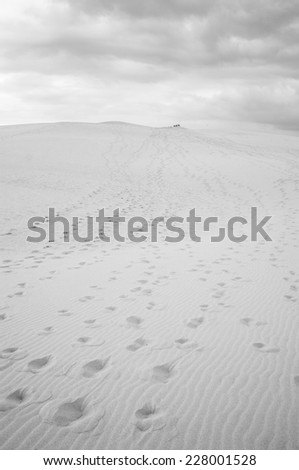 Footprints on the Pilat Dune, the highest sand dune in Europe, in Pyla Sur Mer, France. (Black and White) - stock photo