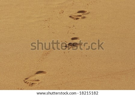 Footprints on the yellow sand
