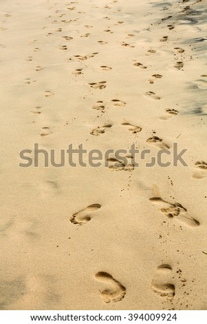 Footprints on wet sand of the beach