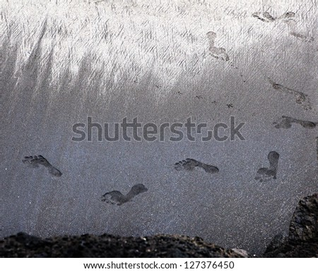 Footsteps on a sandy beach - stock photo