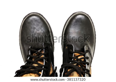 Footwear army, tourist for campaigns. Footwear on laces. On a white background. It is isolated. - stock photo