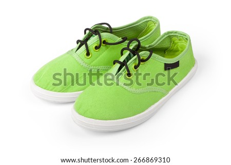 Footwear. Pair of green shoes isolated on white  - stock photo