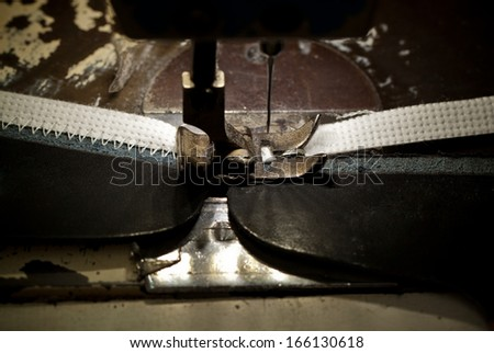 footwear part with zig-zag stitching operation - stock photo