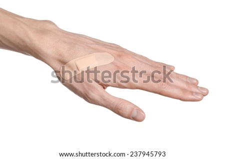 for a man's hand glued medical plaster first aid plaster advertising on a white background