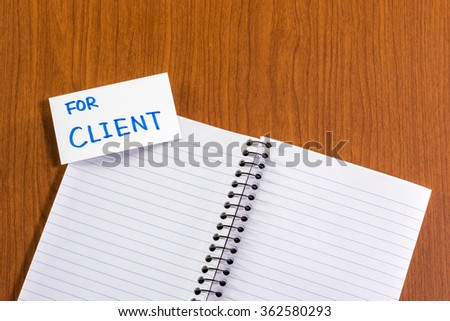 For Client; White Blank Documents with Small Message Card.