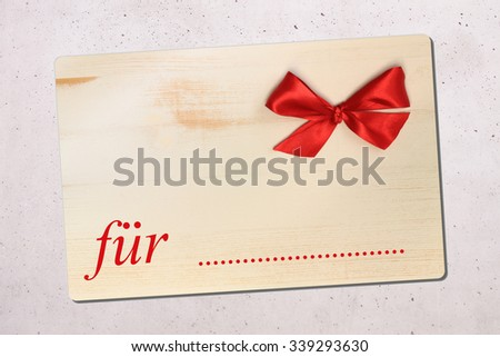 for ... gift tag in german - stock photo