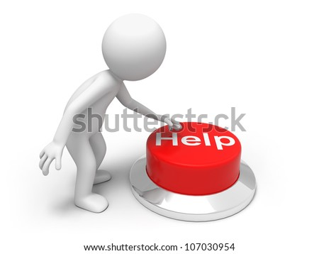 For help  /A man is pushing the button