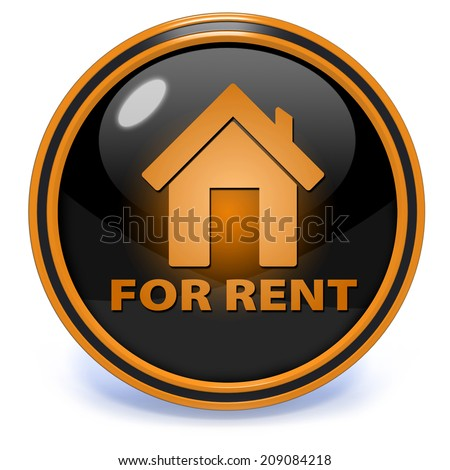 For rent circular icon on white background - stock photo