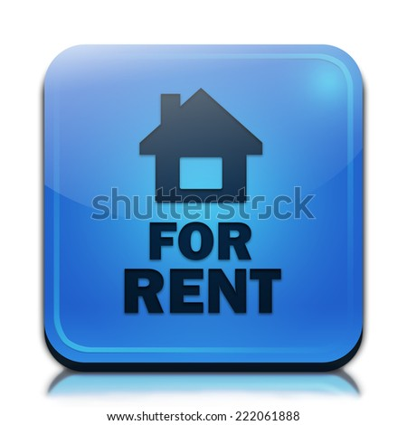 For rent icon. Glossy blue button. - stock photo