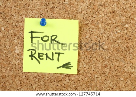 For rent on yellow paper note