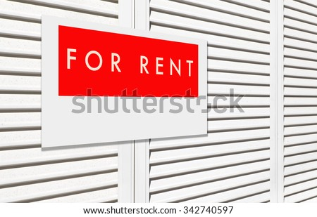 For rent sign on window house shutter